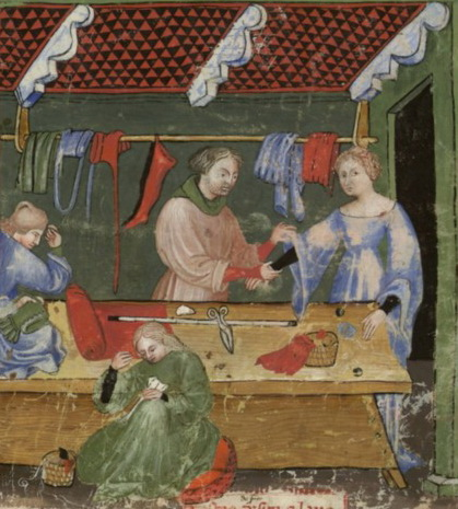 Nouvelle acquisition latine 1673, fol. 95, Marchand de vêtements de soie