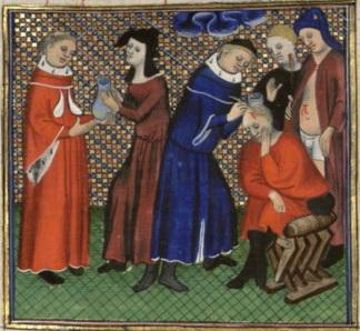 (1400) De proprietatibus rerum - BNF Français 22531, fol. 115, Médecin(s) et malade(s)