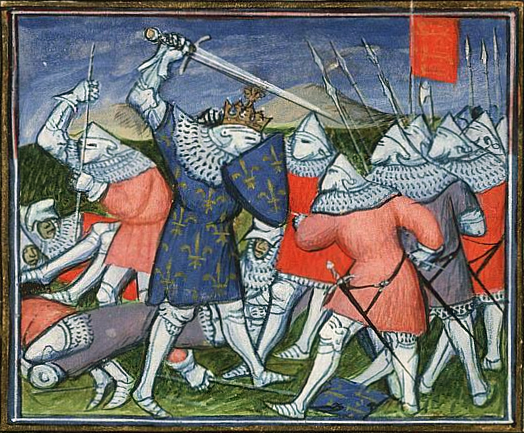 (14010) John II of France captured at the Battle of Poitiers - Virgil Master, Koninklijke Bibliotheek KB, 72 A 25, fol. 178r, The Hague