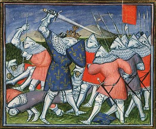 (14010) John II of France captured at the Battle of Poitiers - Virgil Master, Koninklijke Bibliotheek KB, 72 A 25, fol. 178r, The Hague