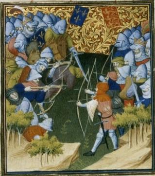 Français 2642, fol. 159v, Bataille de Crécy (1346)